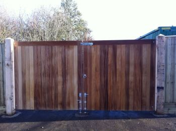 Iroko hardwood entrance gates