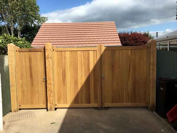 Iroko hardwood gates at a house in Wallingford