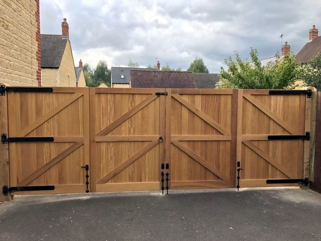 Iroko hardwood gates - rear view - in Witney
