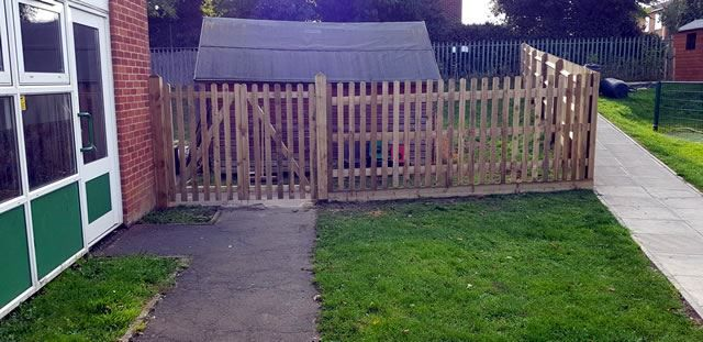 Picket fencing at school in Cowley, Oxford