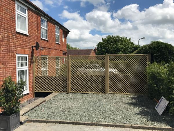 Trellis fencing at a house in Thame