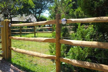 Post and rail fencing for horses