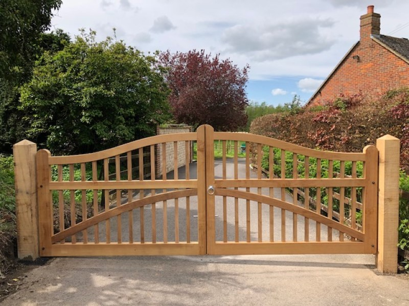 Front view of Iroko hardwood gates