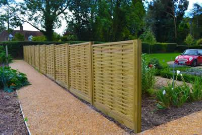 Fence panels with wooden posts